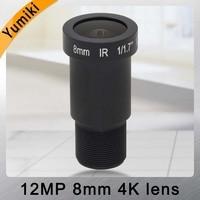 Yumiki 12Megapixel (4K Lens) Fixed M12 Lens 8mm 45 Degree For 4K IP CCTV camera or 4K Sport Action DV