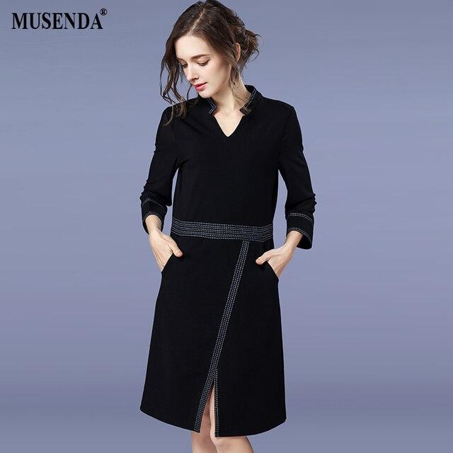 f007d0a95 MUSENDA Plus Size Mulheres Preto Elegante Bolso Túnica Dividir Vestidos  Senhora Do Escritório Vestido Roupas Vestido