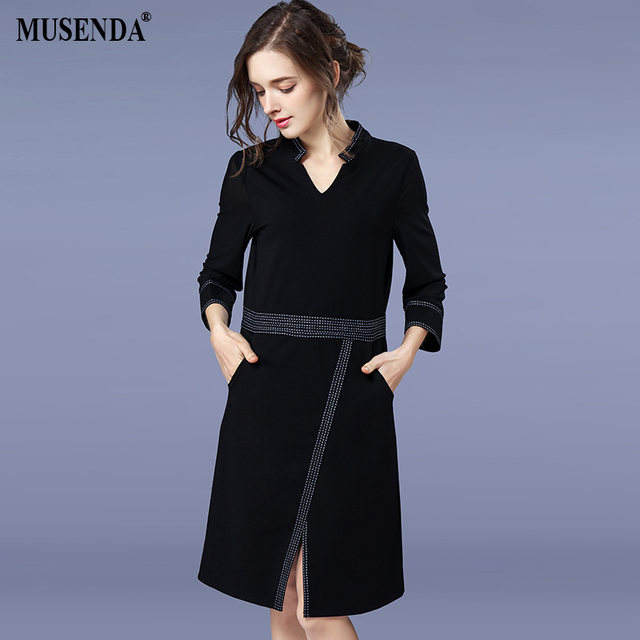 MUSENDA Plus Size Women Elegant Black Pocket Tunic Split Dress 2018 Spring  Female Office Lady Dresses d47ec95b6a1a