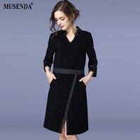 MUSENDA Plus Size Women Elegant Black Pocket Tunic Split Dress 2018 Spring Female Office Lady Dresses Vestido Clothing Robe
