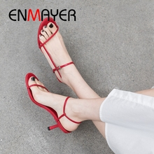 ENMAYER 2019 New Fashion  Basic Party Genuine Leather Women Sandals Summer High Heel Sexy Shoes Size 34-39 LY2072