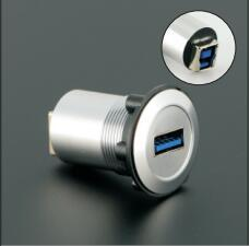 22mm mounting diameter metal USB3.0 Female A change to Female B (Silver surface)