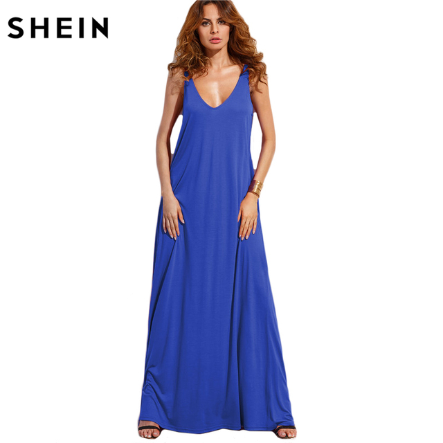 SHEIN Double V Neck Jersey Tent Dress Long Womens Summer Beach Dresses 2017 V Back Sleeveless  sc 1 st  AliExpress.com & SHEIN Double V Neck Jersey Tent Dress Long Womens Summer Beach ...