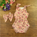 Floral Baby Girls Romper 3T Girls Clothing set Summer Floral Pom Baby Romper Cotton Girls pattern Romper with headband set