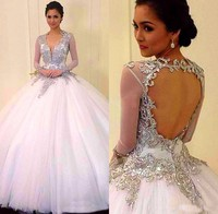 2019 White Ball Gown Quinceanera Dresses Applique Beads Tulle Backless Prom Gowns Cheap Formal Dresses 16 Sweet Girl Dresses