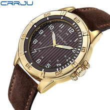 2016 New CRRJU Men s Sports Quartz Watches Mens Watches Top Brand Luxury Leather Waterproof Wristwatches