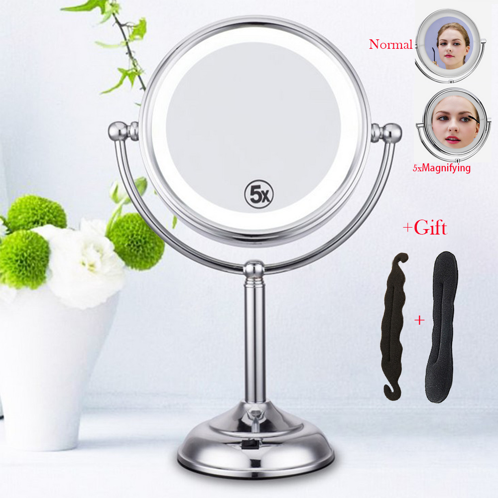 8 inch Desktop Makeup Mirror 2-Face Metal 5X Magnifying LED lamp Light Table for free 2pcs gift mirror silver chrome vespa open face