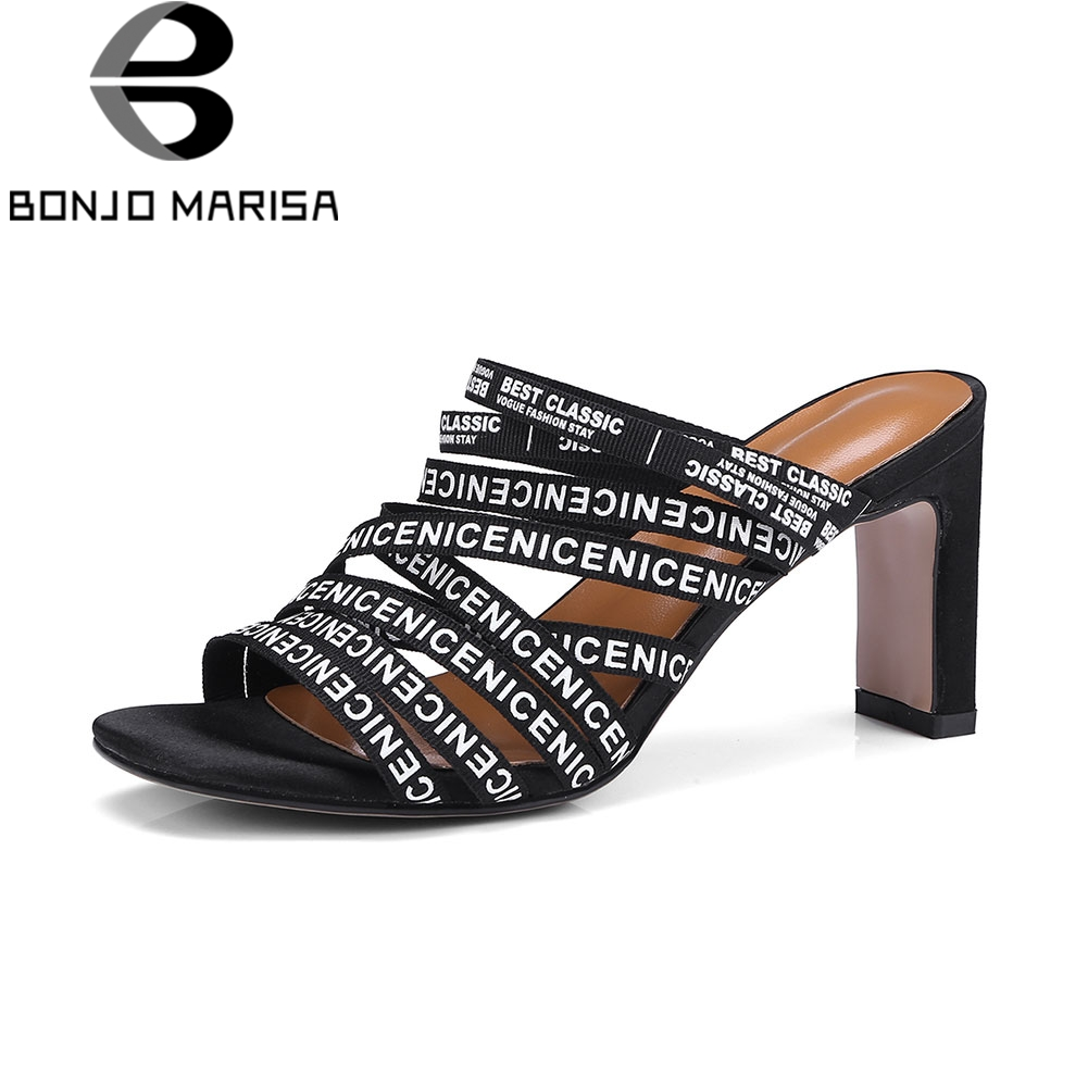 BONJOMARISA Brand Letters Mules Women Summer 2018 New Large Size 32-43 High Heels Shoes Woman slip-on Footwear bonjomarisa summer fashion hot sale women mules bling crystal pumps big size 32 43 mature high wedges heels shoes woman