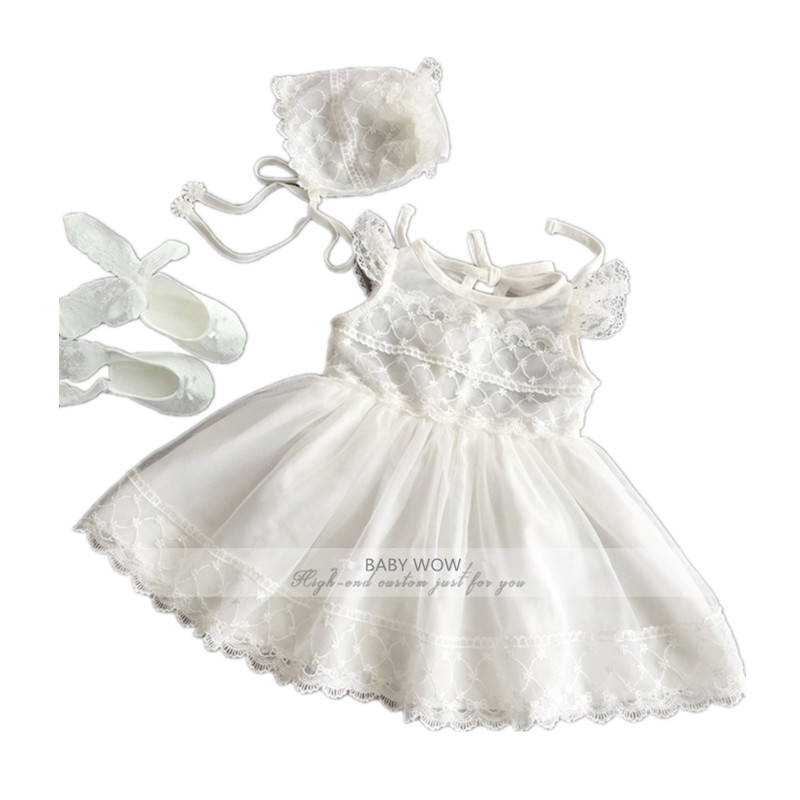 BBWOWLIN Baby Flower Girl Dresses +hat + Shoes Suits for Christmas Birthday Party Wedding Dress Vestido Infantil 80238 bbwowlin baby girl shoes first walkers cotton crystal baby girls christening dresses for party wedding 90226