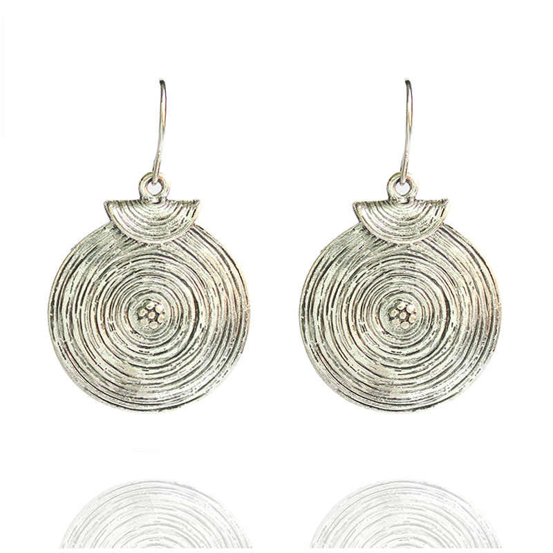 Fashion Small Antique Round Circle Dangle Earrings For Women Girls Vintage Tibetan Silver Ethnic Earring Gift Jewelry