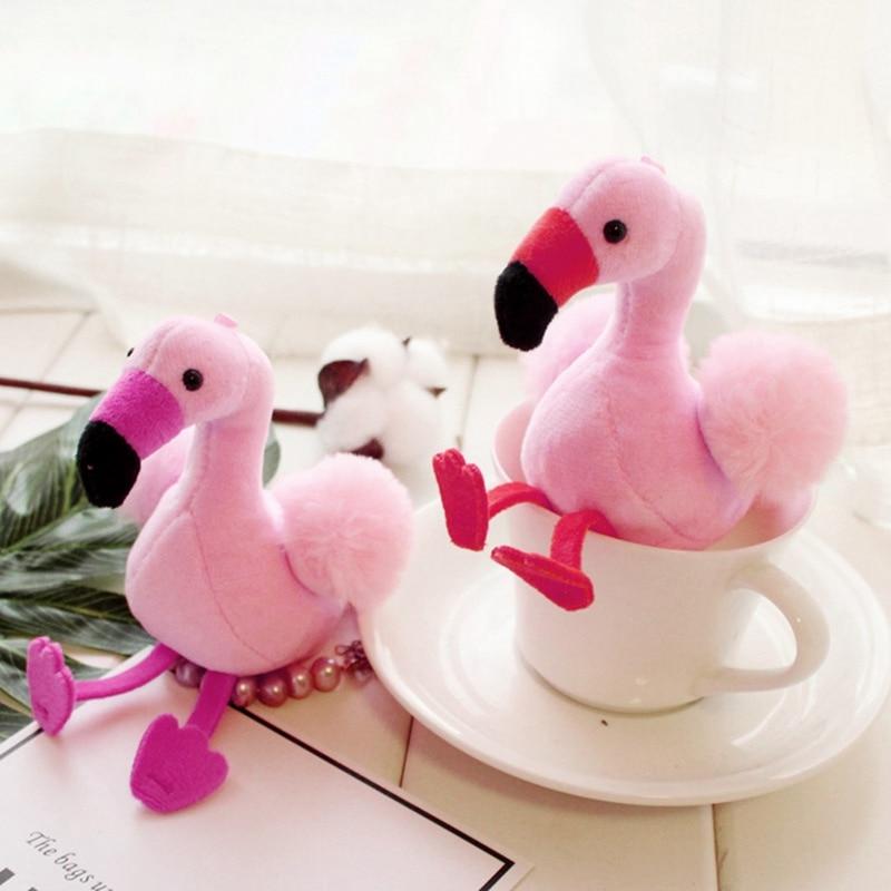 New Cartoon Flamingo Crown Plush Keychain Handbag Car Keyring Women Key Buckle Key Chains Jewelry Toy Color Random