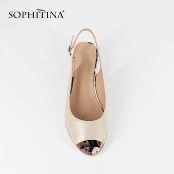 SOPHITINA 2019 Fashion Wedges Sandals Russia Big Size 36-44 Genuine Leather Buckle Strap Casual Shoes Woman Flower Sandals SC22