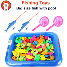 12PCS  Magnetic Fishing Toy Big Size With Nets Rod 3D Fish Plastic Outdoor Fun Game Baby Kids Educational Toys For Children