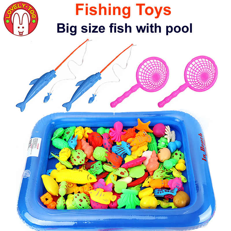 12PCS Magnetic Fishing <b>Toy</b> Big Size With Nets Rod 3D Fish <b>Plastic</b> ...