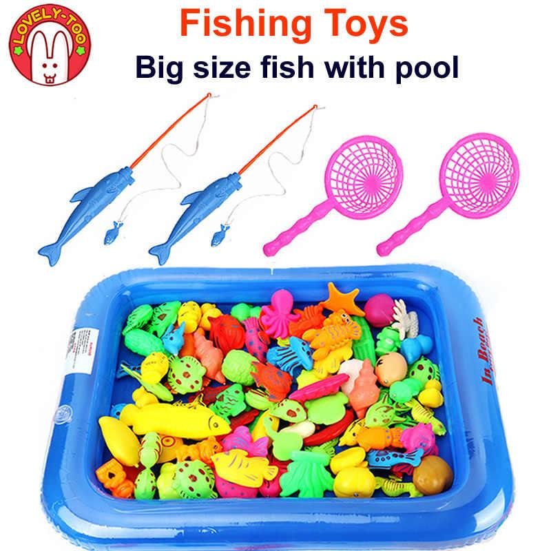 12PCS Magnetic Fishing <b>Toy</b> Big Size With Nets Rod 3D Fish <b>Plastic</b> ...