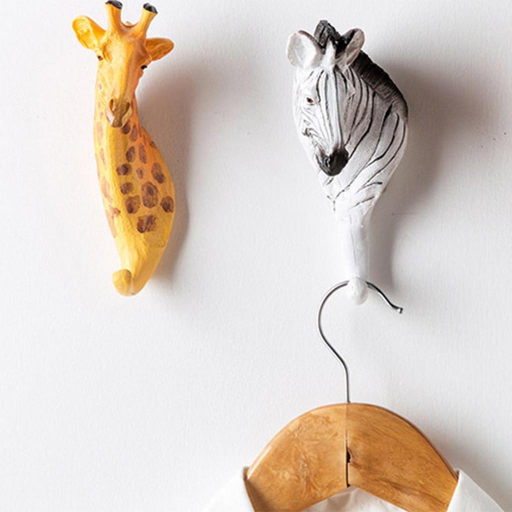 Resin Animal Head Shaped Wall Hook Hanger Rack Coat Robe Hat Storage Zebra