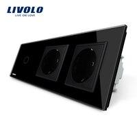Livolo New Power Socket EU Standard CE Certificates Black Crystal Glass Outlet Panel 2Gang Wall Sockets