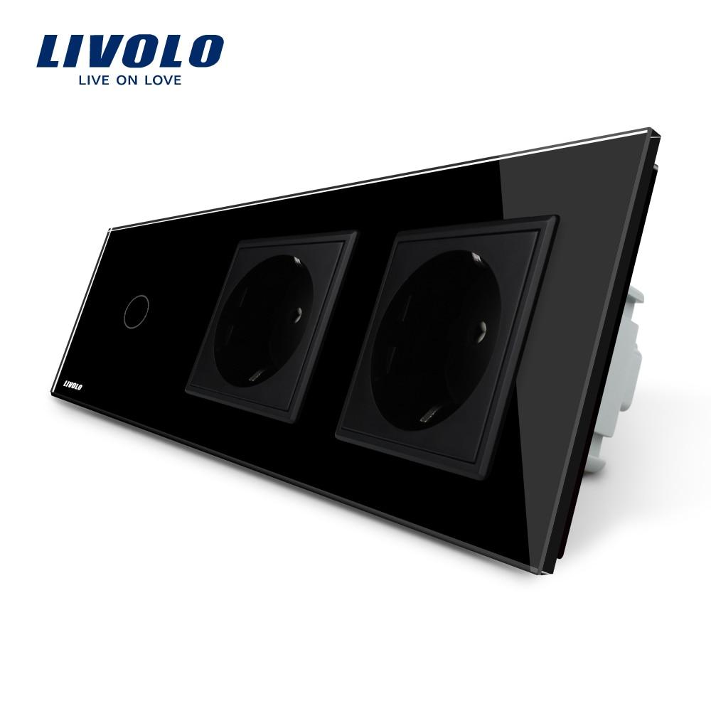 Livolo New Power Socket, AC 220~250V,Black Crystal Glass Panel, 2Gang Wall Sockets with Touch Switch VL-C701-12/VL-C7C2EU-12