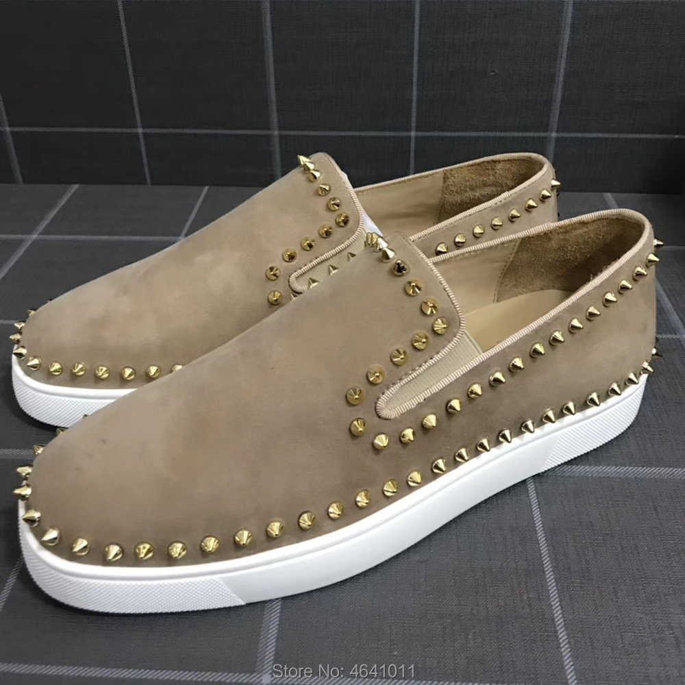 Low Cut Leisure cl andgz slip On Beige หนัง Rivets ด้านล่างสีแดงสำหรับชายรองเท้ารองเท้าผ้าใบแบนรองเท้า Loafers
