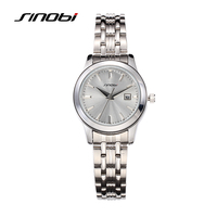 SINOBI New Style Lover S Casual Watch With Calendar Silver Dial Quartz Wristwatch Stainless Steel Strap