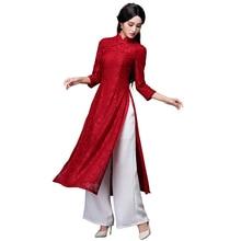 2018 new aodai vietnam cheongsam dress for women traditional clothing floral ao dai dress