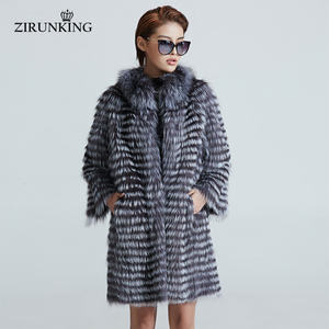 Image 2 - ZIRUNKING Knitted  Real Silver Fox Fur Coats Fashion Fur Jacket Striped Style Outfit Female Fox Fur For Autumn ZCW 02YL