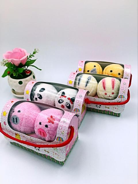 VILEAD Mini Cute Animal Compressed Travel Towel Set Gift Set With Embroidery Cotton Panda Pig Towels Bath Set Valentine's Day