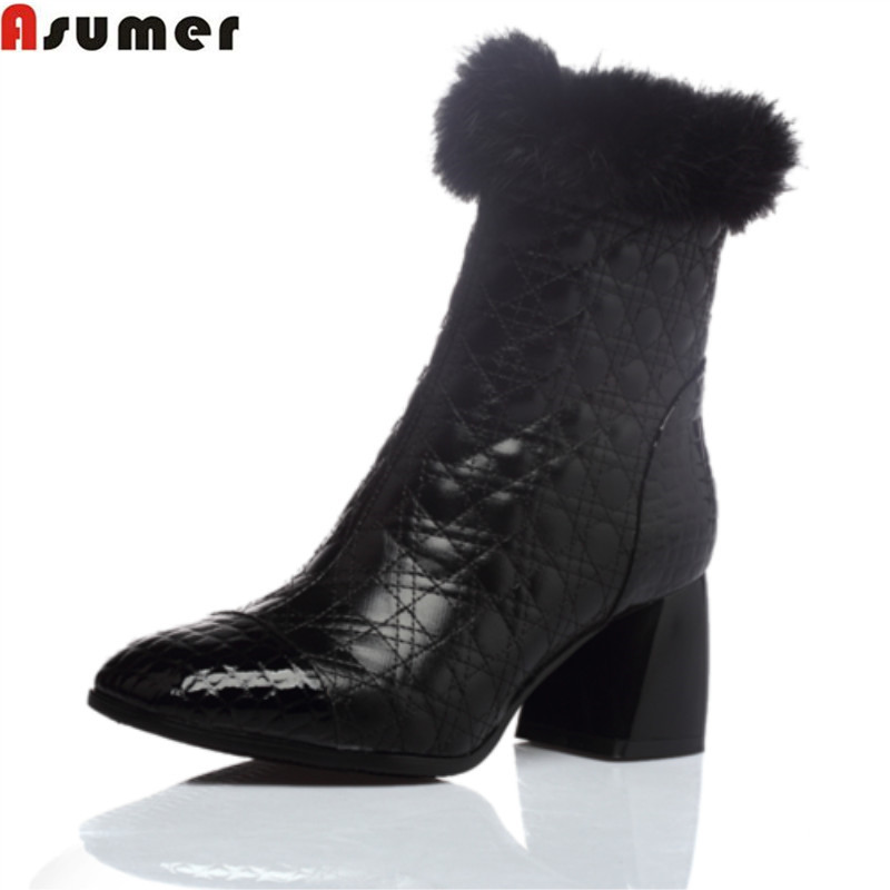 Asumer 2018 hot sale new arrive women boots fashion zipper solid color genuine leather autumn winter ankle boots asumer 2018 hot sale new arrive women boots fashion zipper black genuine leather pointed toe ladies boots simple mid calf boots