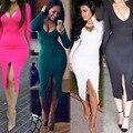 Европа И Америка Женщины Ночной Клуб Полиэстер Глубокий V Dress Sexy Длинными Рукавами Тело Скульптуры Конфеты Цвета Сплит Дизайн