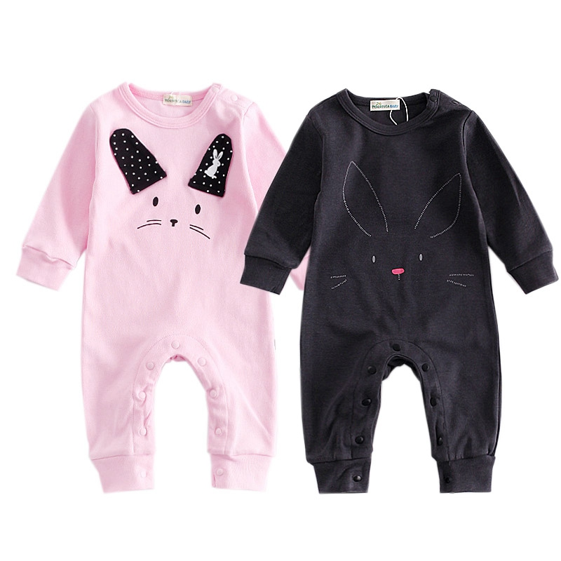 Newborn Girls Boys Clothes Cartoon Animal Rabbit Baby Rompers New Fashion Long Sleeve Infant Costume Bebes Infantil Jumpsuit 2017 lovely newborn baby rompers infant bebes boys girls short sleeve printed baby clothes hooded jumpsuit costume outfit 0 18m
