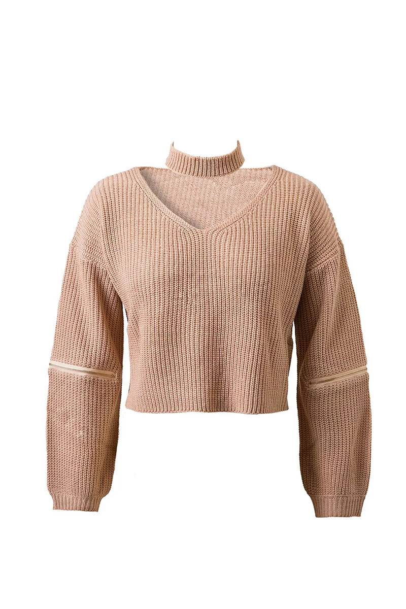 Choker zipper big size autumn short sweater crop top hot sale ...