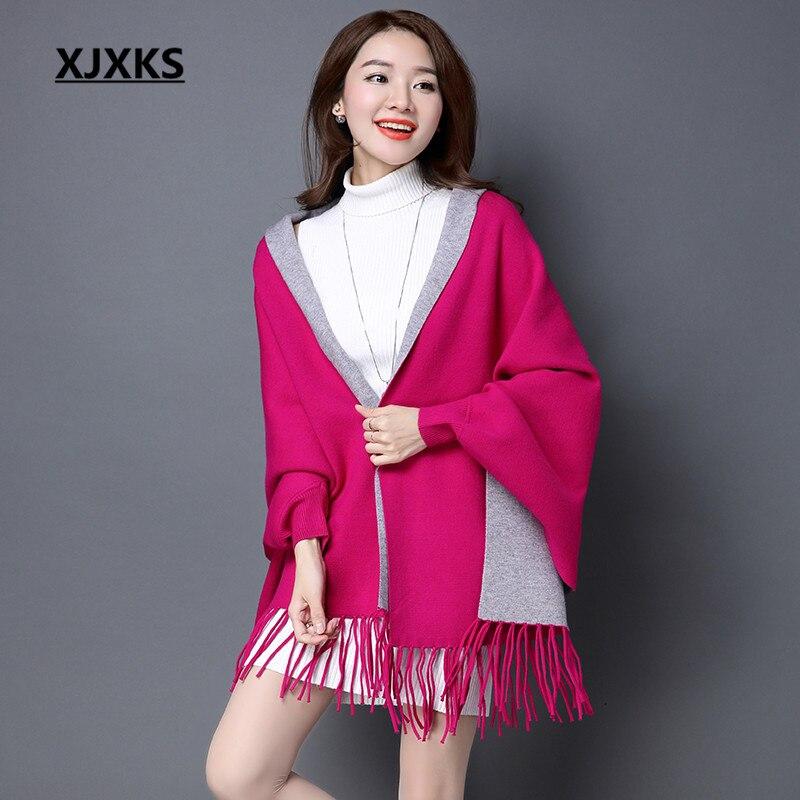 XJXKS Длинный участок женщин кашемировый свитер новых осенью и зимой кашемир вышивка кардиган качели с Кисточкой