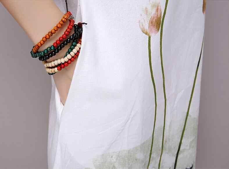 Saiqigui летнее платье больших размеров с коротким рукавом Белое Женское платье повседневное хлопковое льняное платье с принтом лотоса О-образным вырезом Vestidos de Festa