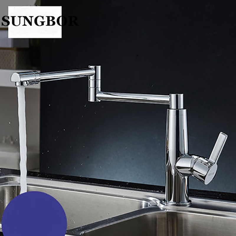 2016 New Design 100 Brass Chrome Fold Kitchen Faucet Extension Hot and Cold Water Kitchen Faucet