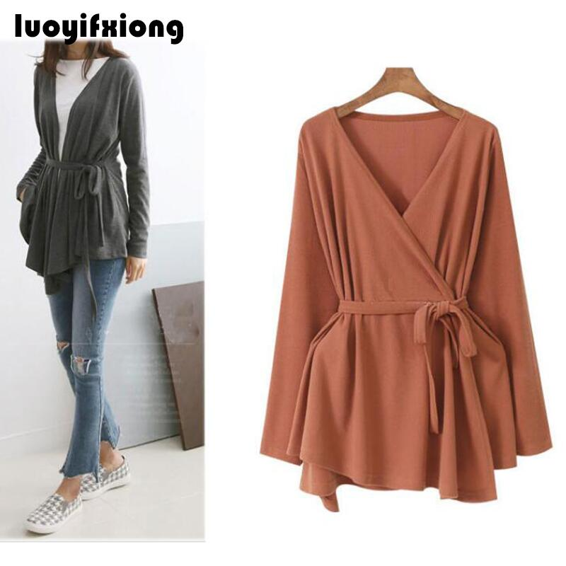 L-4XL Women Cardigan Tops Knitte Asymmetric Hem Wrap Lace-Up Belted Slim Casual Blouse Blusas Shirt Long Sleeve Kimono Plus Size