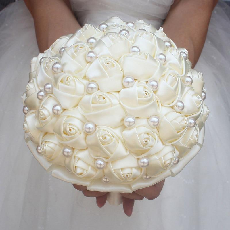 Image 2 - WifeLai A Pure Color Ivory Bridal Wedding Bouquet Cream Satin Rose Artificial Flowers Wedding Bouquet de novia On Sale W322 2bouquet de noviabridal wedding bouquetwedding bouquet -