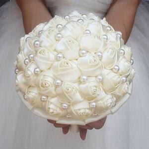 Image 2 - WifeLai A Pure Color Ivory Bridal Wedding Bouquet Cream Satin Rose Artificial Flowers Wedding Bouquet de novia On Sale W322 2