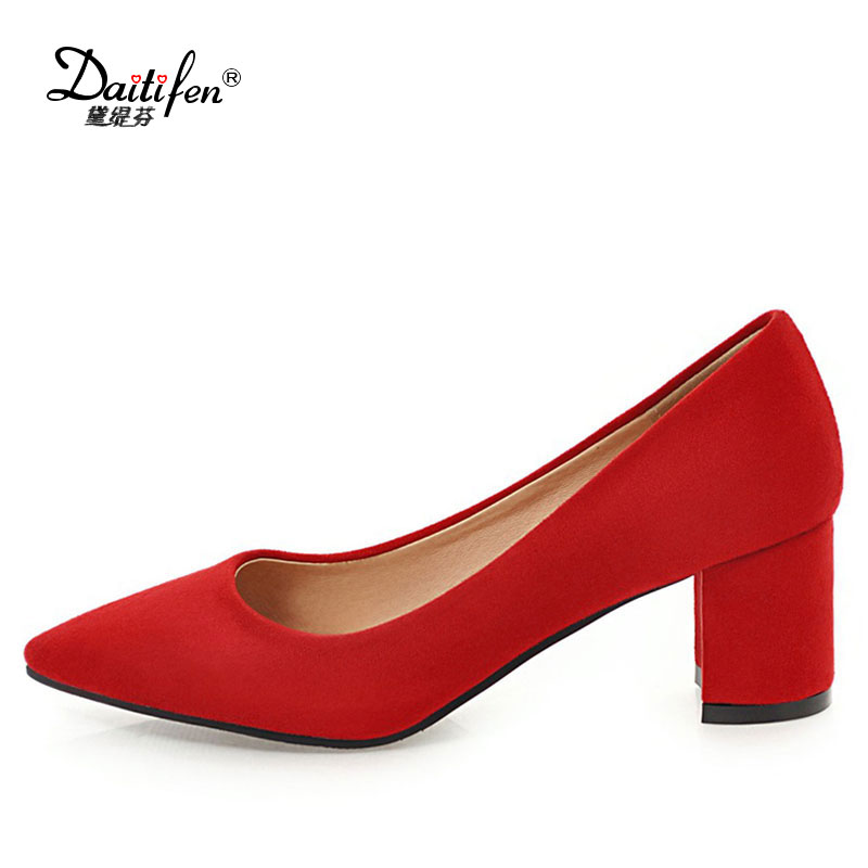 Daitifen 2018 Classics Women's Shallow Office Shoes New Arrival Concise Solid Flock Pointed Toe Women Pumps Fashion size 34-43 flock women flats 2017 pointed toe ladies single shoes fashion shallow casual shoes plus size 40 43 small yards 33 sapatos