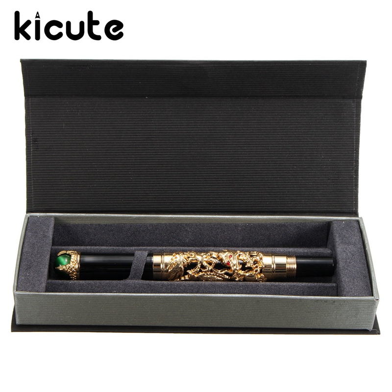 Kicute Excellent Luxury Medium M Nib Golden Dragon Fountain Pen Clip With Gift Box School Office Business Men Smoothly Writing карандаш для глаз pupa easy liner eyes 1 1 гр тон 326