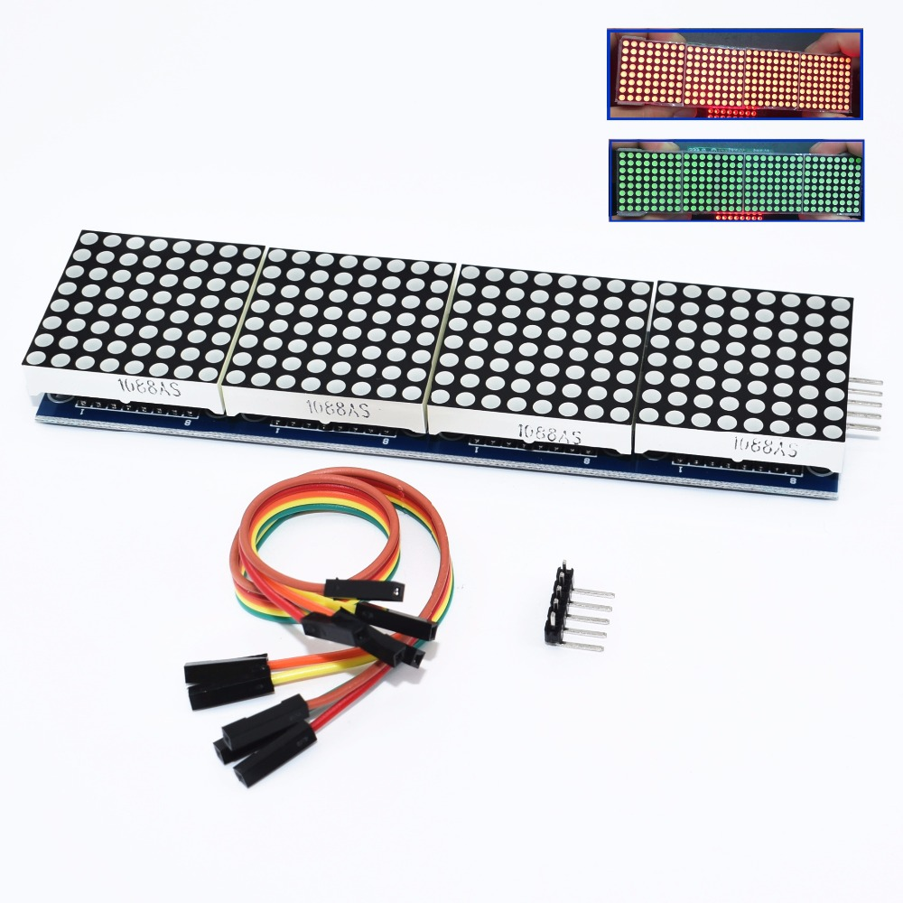 MAX7219 Dot Matrix Module Microcontroller 4 In One Display With 5P Line 4 In 1 Red/Green