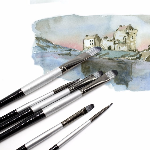 Set Of 6 Premium Nylon Artist Brushes Acrylic Paint By Numbers