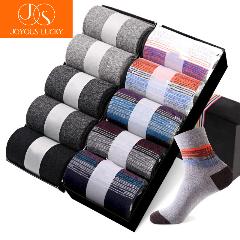 JOYOUS LUCKY 10 Pairs /Lots New Dress Socks Mens Cotton Tube Pattern Business Men Socks Meias Crew Socks Solid and Printed Sale