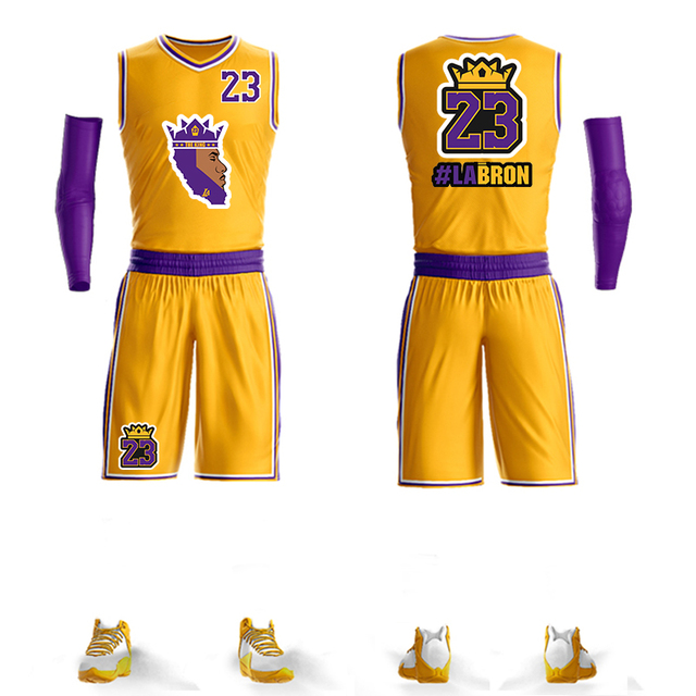 27adfbe6736 2019 New LeBron James Jerseys Basketball Jersey Lebron Jersey set Suit #23  Los Angeles Home Yellow king james Special version