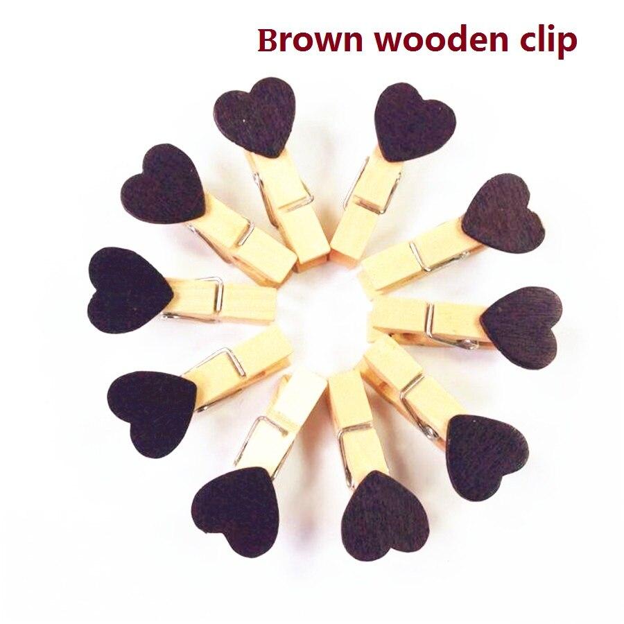 15 пакетов/lot Новый милый коричневый цвет сердце Бумага клип деревянные клипы Для свадебной вечеринки Мода Специальный подарок оптовая прод...