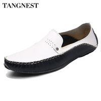 Tangnest New 2017 Men Casual Shoes Genuine Leather Men Slip On Flats Luxury Brand Man Moccasins