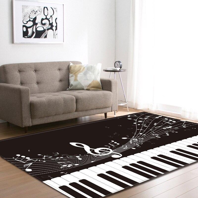 Pied rectangulaire personnalisé Piano tapis noir et blanc Piano silencieux tapis pour salon tapis Piano Note clé Polyester