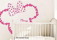 Baby Name Head Ears Minnie Mouse Kids Nursery Wall Decal Vinyl Sticker DIY ART For Home