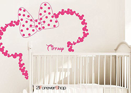 Baby Name Head Ears Minnie Mouse Kids Nursery Wall Decal Vinyl Sticker...