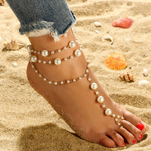 1 piece set fashion pearl anklet three-layer handmade beaded toe ladies and beach imitation barefoot sandals