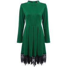 Fashion Patchwork Lace Long Sleeve Dress O-neck Spliced Pleated Europe new American Style Slim